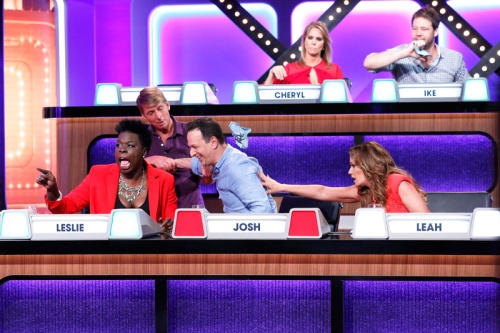 MATCH GAME – Airdate: July 17, 2016 - The iconic panel game show MATCH GAME, hosted by Golden Globe and Emmy Award-winning actor Alec Baldwin, returns to primetime airing on SUNDAYS (10-11pm, ET) on the ABC Television Network. (ABC/ Heidi Gutman) JACK MCBRAYER, CHERYL HINES, IKE BARINHOLTZ (top row); LESLIE JONES, JOSH CHARLES, LEAH REMINI (bottom row)