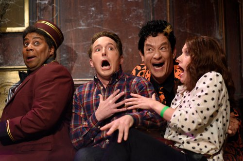 "SATURDAY NIGHT LIVE -- ""Tom Hanks"" Episode 1708 -- Pictured: (l-r) Kenan Thompson, Beck Bennett, Tom Hanks as David Pumpkins, and Kate McKinnon during the ""Haunted Elevator"" sketch on October 22, 2016 -- (Photo by: Will Heath/NBC)"