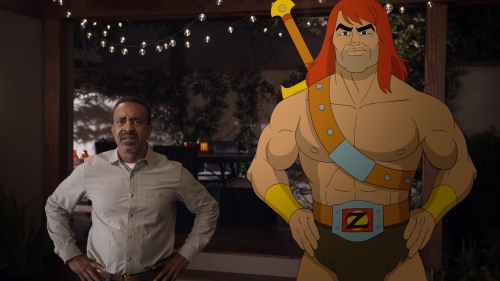 """SON OF ZORN:  L-R:  Tim Meadows and Zorn (voiced by Jason Sudeikis) in the """"Workplace Battles"""" episode of SON OF ZORN airing Sunday, Oct. 2 (8:30-9:00 PM ET/PT) on FOX.  ©2016 Fox Broadcasting Co.  Cr:  FOX"""