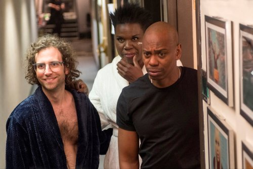 "SATURDAY NIGHT LIVE -- ""Dave Chappelle"" Episode 1710 -- Pictured: (l-r) Kyle Mooney, Leslie Jones, and Dave Chappelle during the ""Love and Leslie"" sketch on November 12, 2016 -- (Photo by: Alex Schaefer/NBC)"