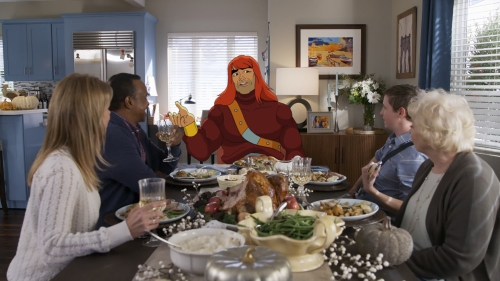"SON OF ZORN:  L-R:  Cheryl Hines, Tim Meadows, Zorn (voiced by Jason Sudeikis), Johnny Pemberton and guest star Jenny O'Hara in the ""The Battle of Thanksgiving"" episode of SON OF ZORN airing Sunday, Nov. 13 (8:30-9:00 PM ET/PT) on FOX.  ©2016 Fox Broadcasting Co.  Cr:  FOX"