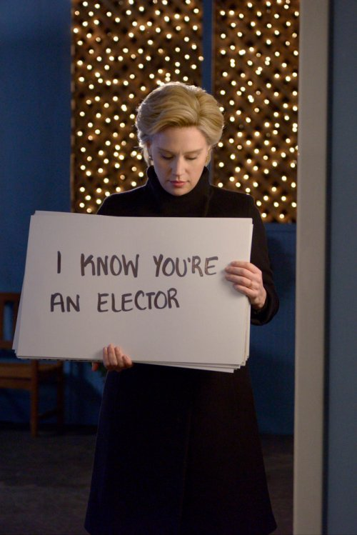 "SATURDAY NIGHT LIVE -- ""Casey Affleck"" Episode 1714 -- Pictured: Kate McKinnon as Hillary Clinton during the ""Hillary Actually"" sketch on December 17, 2016 -- (Photo by: Becky Vu/NBC)"