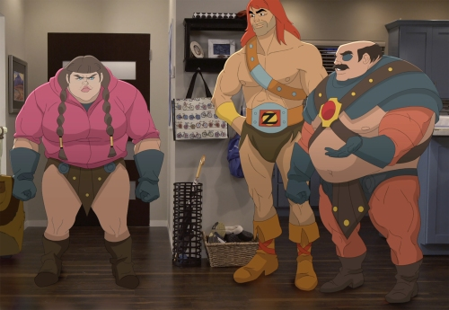 "SON OF ZORN:  L-R:  Headbutt Girl (voiced by guest star Ashley Padilla, Zorn (voiced by Jason Sudeikis) and Hedbutt Man (voiced by guest star Rob Riggle) in the ""Return of the Drinking Buddy"" episode of SON OF ZORN airing Sunday, Dec. 4 (8:30-9:00 PM ET/PT) on FOX.  ©2016 Fox Broadcasting Co.  Cr:  FOX"
