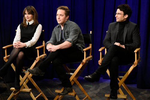 "SATURDAY NIGHT LIVE -- ""Felicity Jones"" Episode 1715 -- Pictured: (l-r) Felicity Jones, Beck Bennett, and Kyle Mooney during the Movie Interview sketch on January 14th, 2017 -- (Photo by: Will Heath/NBC)"