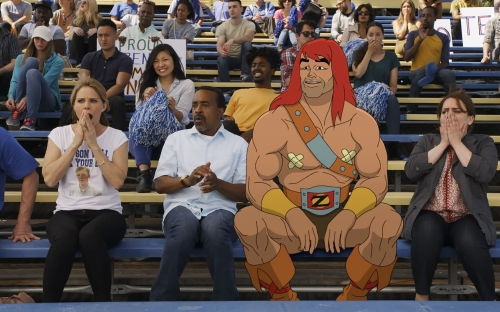 "SON OF ZORN:  L-R:  Cheryl Hines, Tim Meadows, Zorn (voiced by Jason Sudeikis) and Artemis Pebdani in the ""Quest for Craig"" episode of SON OF ZORN airing Sunday, Feb. 12 (8:30-9:00 PM ET/PT) on FOX.  ©2017 Fox Broadcasting Co.  Cr:  FOX"