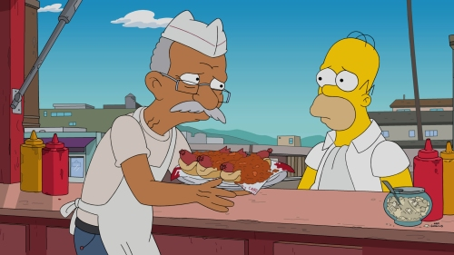 "THE SIMPSONS: When all the fast food restaurants in Springfield become healthy, Homer turns to the last bastion of greasy food for comfort — and digs up some childhood memories along the way. Meanwhile, Lisa must find a good news story when the future of her school radio station is in jeopardy, on the all-new ""Fatzcarraldo"" episode airing Sunday, Feb. 12, (8:00-8:31 PM ET/PT) on FOX. THE SIMPSONS ™ and © 2016 TCFFC ALL RIGHTS RESERVED. THE SIMPSONS ™ and © 2016 TCFFC ALL RIGHTS RESERVED. CR: FOX."
