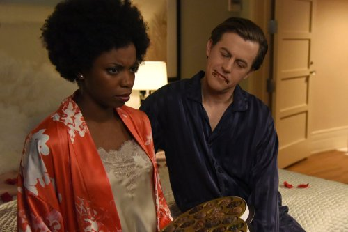 "SATURDAY NIGHT LIVE -- ""Alec Baldwin"" Episode 1718 -- Pictured: (l-r) Sasheer Zamata and Alex Moffat during the ""Russell Stover"" sketch on February 10, 2017 -- (Photo by: Caroline De Quesada/NBC)"