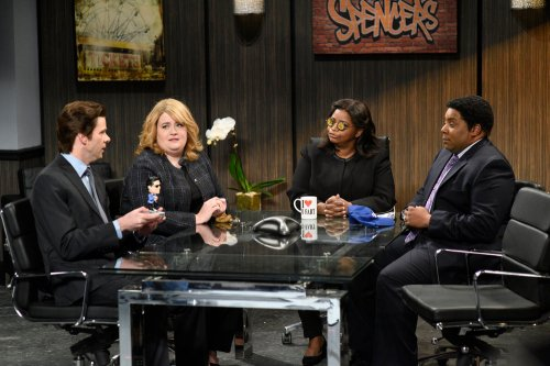 """SATURDAY NIGHT LIVE -- """"Octavia Spencer"""" Episode 1719 -- Pictured: (l-r) Mikey Day, Aidy Bryant, Octavia Spencer, and Kenan Thompson during the """"Spencer's Gifts"""" sketch on March 4, 2017 -- (Photo by: Will Heath/NBC)"""